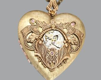 Steampunk Heart Locket Steampunk Heart Necklace Picture Locket Steampunk Wedding Mothers Day Gift