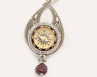 Bohemian Necklace Working Compass Pendant Compass Necklace Teardrop Necklace Pearl Necklace