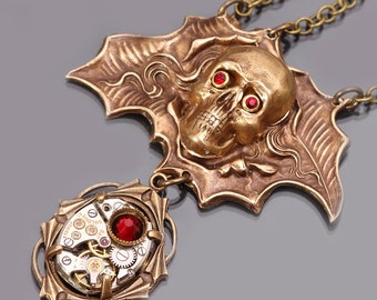 Steampunk Skull Necklace Steampunk Necklace Skull Necklace Steampunk Pendant Steampunk Jewelry Halloween