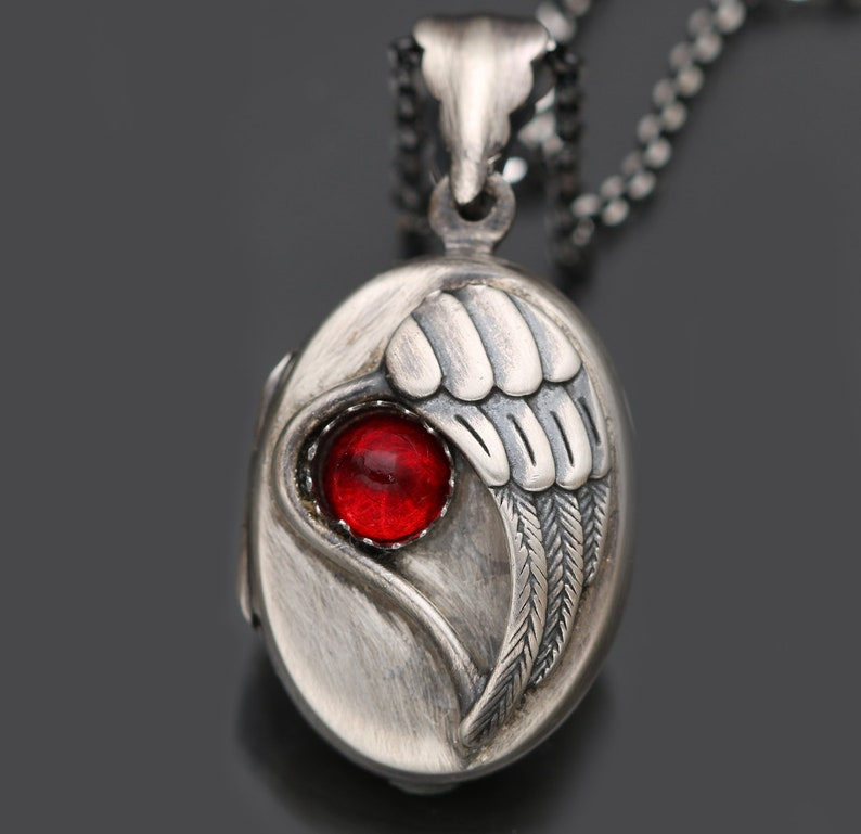 Working Compass January Birthstone Necklace Victorian Gothic Necklace Sterling Silver Heart Locket Winged Heart Necklace Garnet Pendant