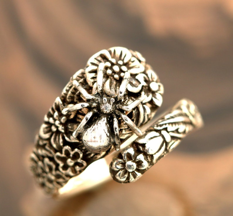 Solid Sterling Silver Oxidized Flower Spoon Ring Flower Ring