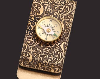 Christmas Gifts For Him, Christmas Gifts, Money Clip Men, Steampunk Men, Working Compass, Stocking Stuffer