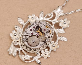 Steampunk Jewelry Silver Necklace Steampunk Sterling Silver Necklace Steampunk Necklace Steampunk Pendant