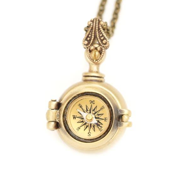 Geheimfach Kompass Kette arbeiten Kompass Medaillon aus | Etsy