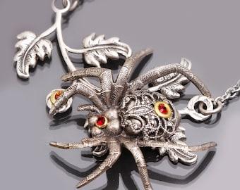 Silver Spider Necklace, Garden Spider Necklace, Gothic Spider Jewelry