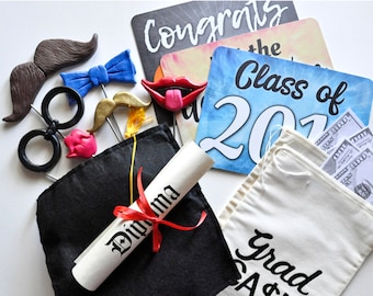 Photo Prop Pack - Graduation Party in a Box - Class of 2018 - Set of 13 colorful photo booth props