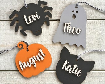 Large Boo Basket Tags - Personalized Wood Halloween tags or decor - Many designs!