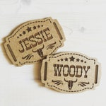 Custom personalized country western belt buckles for kids and dress up events - lasercut wood