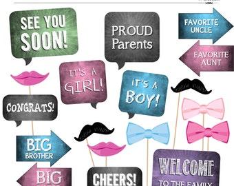 diy photo booth printables baby shower gender neutral