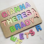 Personalized FULL NAME puzzles - Lasercut Wood - Hand painted - Made in America