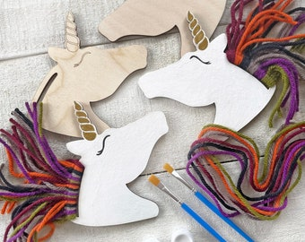 Rainbow Unicorns Kid Craft - Paint and Yarn Included - Pastel or Bright Colors