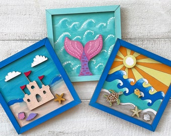 Summer & Beachy Art - Framed Wood Painting Crafts - Made in America