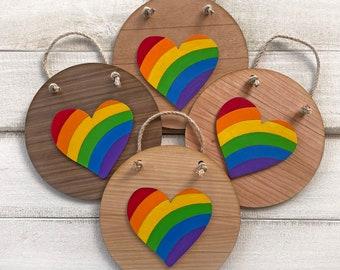 Rainbow Heart Sign - Pride Decor - Hand painted wood
