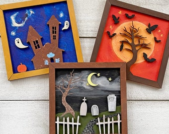Halloween Inspired Art - Framed Wood Painting Crafts - Made in America
