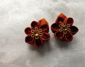 Little Bits of Lava Miniature Kanzashi Snap Clips