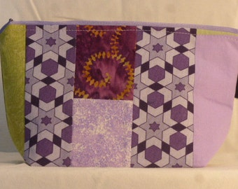Quilted OOAK #3 - Notions Pouch - zippered, cosmetic, knitting/crochet project bag