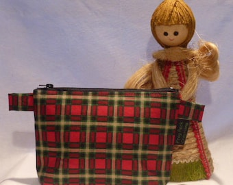 """Festive """"Green, White & Red Tartan"""" - Notions Pouch - zippered, cosmetic, knitting/crochet project bag"""