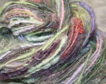 Bulky Textured Art Yarn, Corespun yarn, Handspun Art yarn, Bulky yarn, Wensleydale, Masham wools, 72yds, Hand dyed, handspun wool  E53018