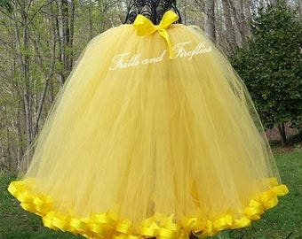 Yellow Tulle Skirt/Maxi Skirt/Flower Girl Skirt/Wedding Skirt/Ball Gown/Dance/Wedding/Skirts for Women/Bridesmaid/Dance/Christmas Gift/Gifts