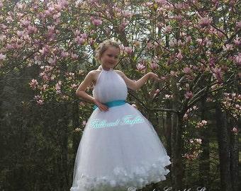 538890510bf White Halter Flower Girl Dress Bridesmaid Dress Girls Dresses Prom Dress Summer  Dress Simple Wedding Dress Formal Dress Princess Dress Gift