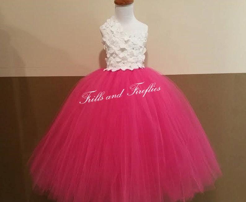 ab21e889e19 White Hot Pink Flower Girl Dress   Flower Girl Dresses