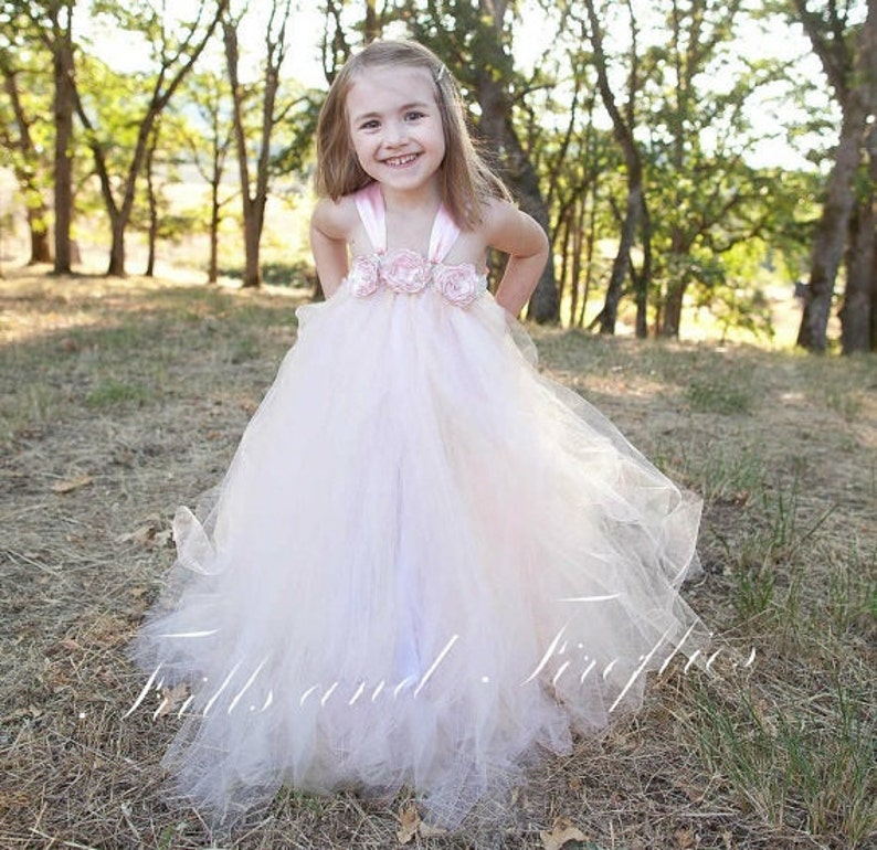 54eaa72bc8935 Blush Flower girl dress / Bridesmaid Dress / Prom Dress / | Etsy