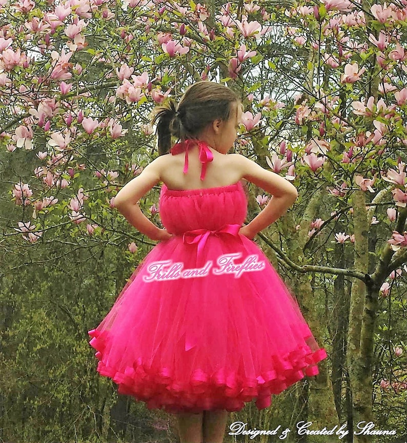 007f74832d4 Bright Pink Flower Girl Halter Dress Bridesmaid Dress Girls