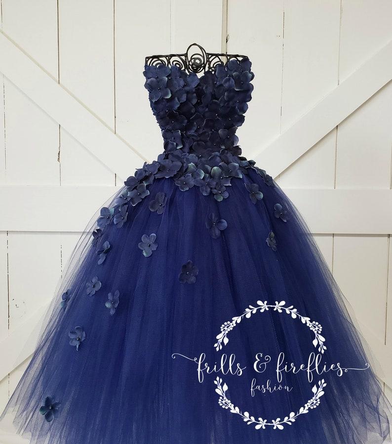 Navy Blue Strapless Flower Girl DressGirls DressBridesmaid DressProm DressSimple Wedding DressGirls DressesPrincess DressFormal Dress
