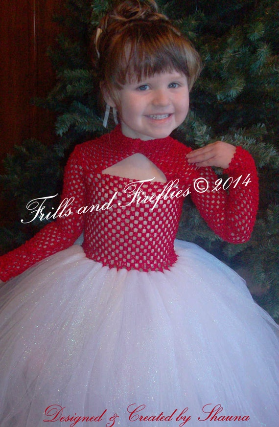 Red And White Flower Girl Tutu Dress Red And White Christmas Etsy