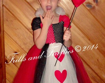 Girls Red and Black Evil Costume Set with Crown and Heart Staff, Sizes 2t  to 8, Larger Available upon request! Halloween, Birthday Party