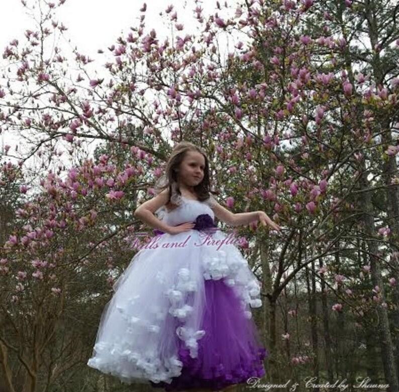 043fe9bc7 White/Purple Flower Girl Dress/Prom Dress/Bridesmaid | Etsy