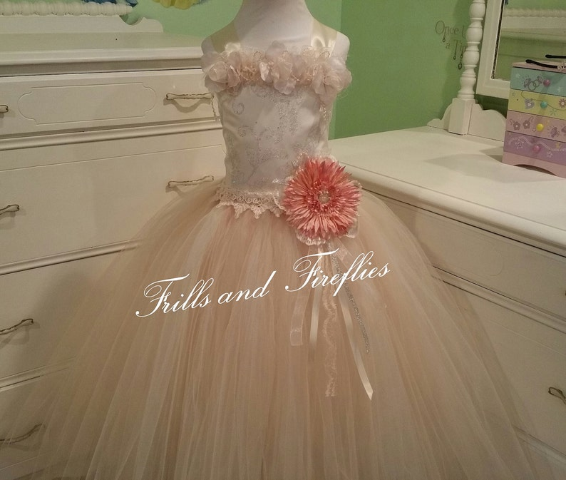 7e29b87a23a Ivory and Beige Corset Fairy Dress   Flower Girl Dress