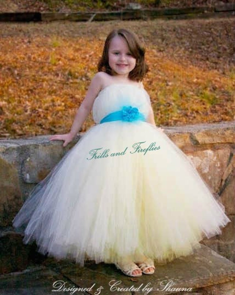 3d071984dde8 Ivory and Yellow Flower Girl Dress/Bridesmaid Dress/Prom | Etsy