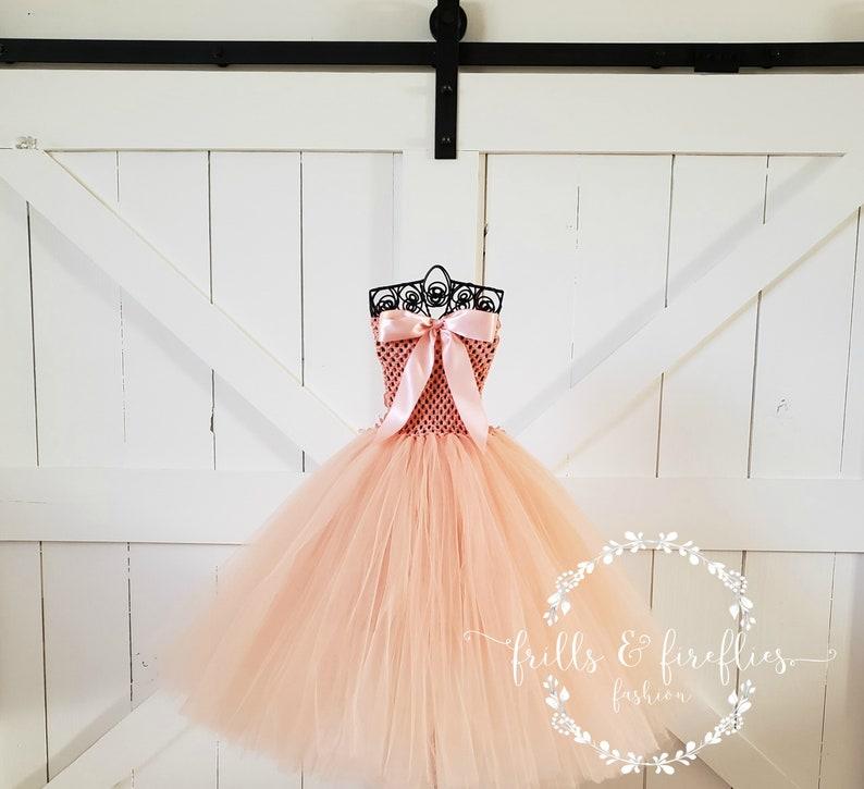 Peach Strapless Flower Girl DressBridesmaid DressGirls DressesProm DressSimple Wedding DressFormal DressWedding DressPrincess Dress