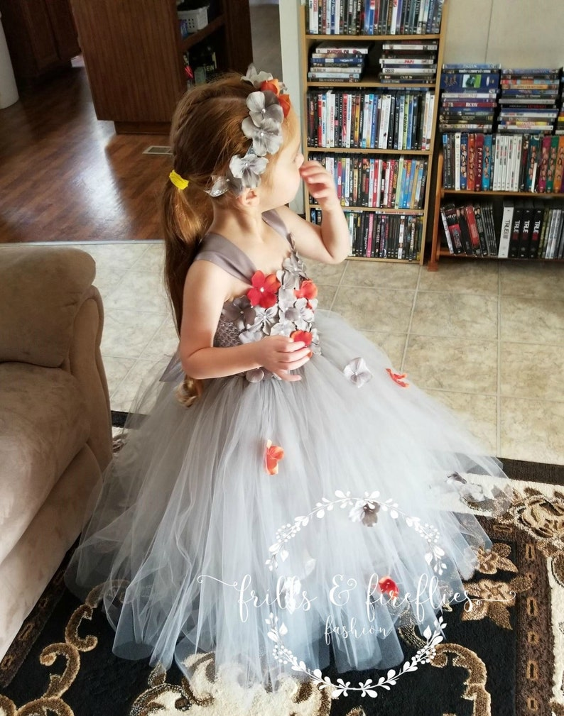 2f160e4572d Amazon.com  orange flower girl dresses. HMF Ivory orange burgundy brown  Flower Girl Dress with Loose fall colors Petal.