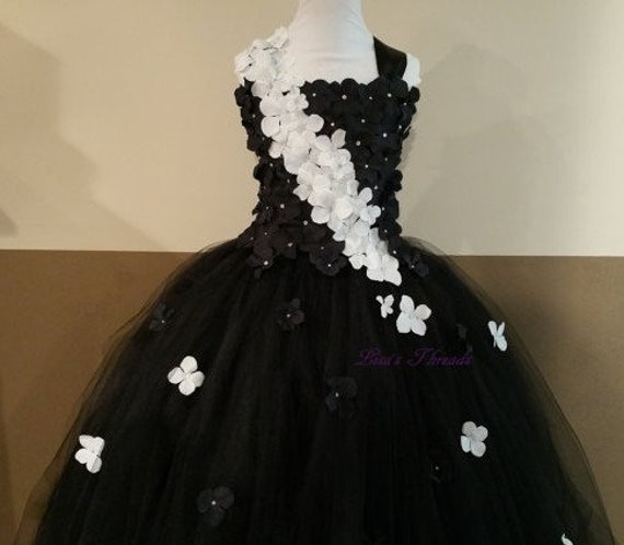 Black, White Flower Girl Dress / Flower Girl Dresses / Bridesmaid Dress /  Princess Dress / Simple Wedding Dress / Formal Dress/Wedding/Gift