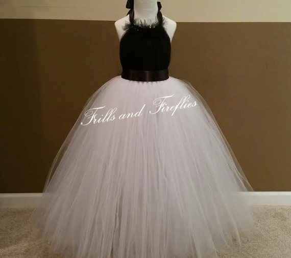 Black And White Flower Girl Dress Bridesmaid Halter Dress Formal Dress Prom Dress Princess Dress Simple Wedding Dress Wedding Girls Dresses