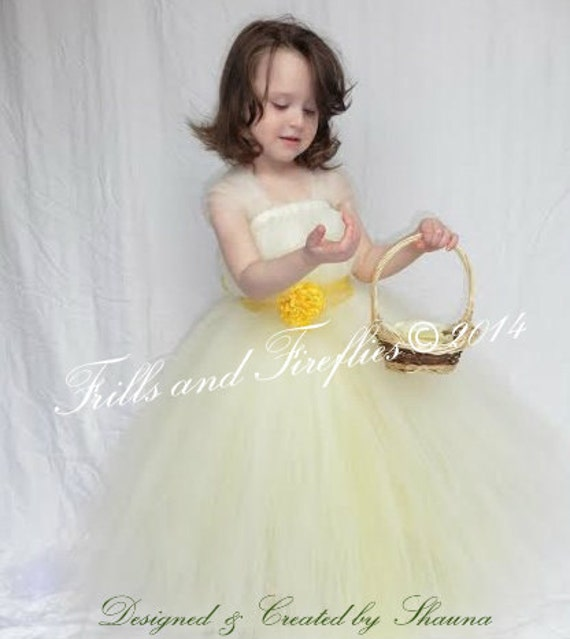 b1587c01a02c Ivory Yellow Flower Girl Dress Bridesmaid Dress Girls
