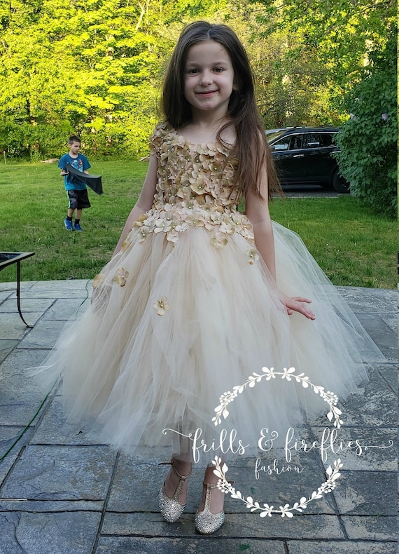 Champagne Flower girl dressShabby Chic Bridesmaid DressSimple Wedding DressProm DressGirls DressesFormal DressPrincess DressWedding