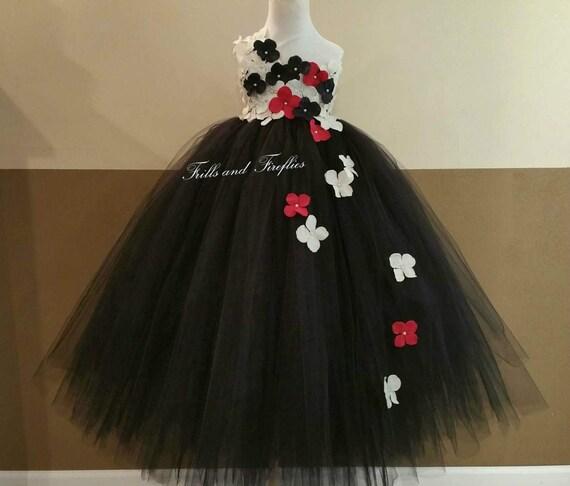 Black white red flower girl dress flower girl dresses etsy image 0 mightylinksfo