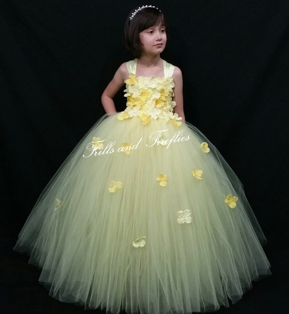 Yellow Flower girl dress Bridesmaids Dress Princess Dress Formal Dress Prom Dress Wedding Dress Girls Dresses Baby to Adult Sz