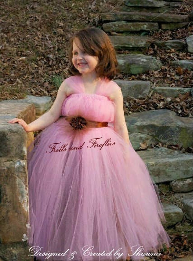 Pink And Brown Flower Girl Dress Bridesmaid Dress Prom Etsy