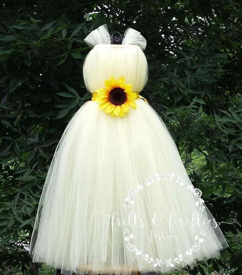 076bca4b8ab1c5 Ivoire/tournesol fleur fille robe/demoiselle d'honneur robe/filles  robes/Prom robe de mariage de robe/Simple robe / d'été et de la princesse  ...