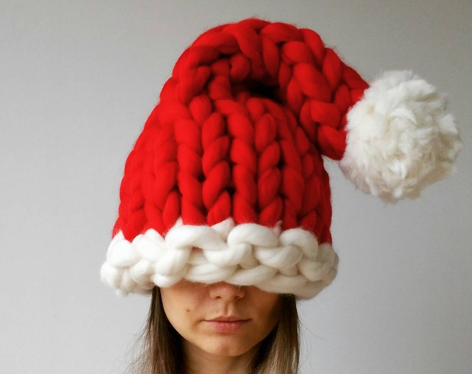 Featured listing image: Chunky Knit Santa Hat Christmas