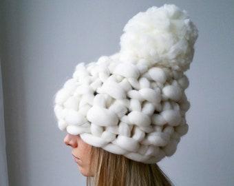 Winter Hat White Christmas Chunky Knit PomPom Valentines