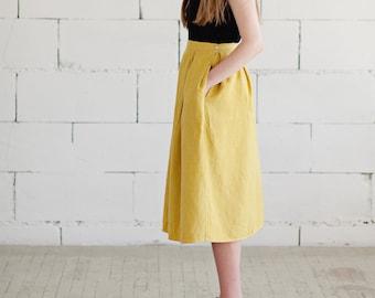Yellow Linen Midi Skirt Pure Linen Sustainable Fashion