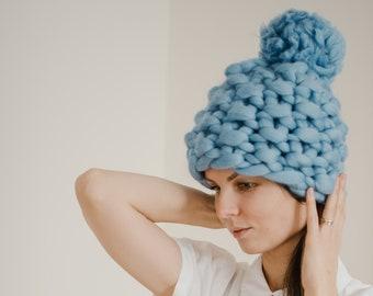 Blue Chunky Pom Pom Knit Hat