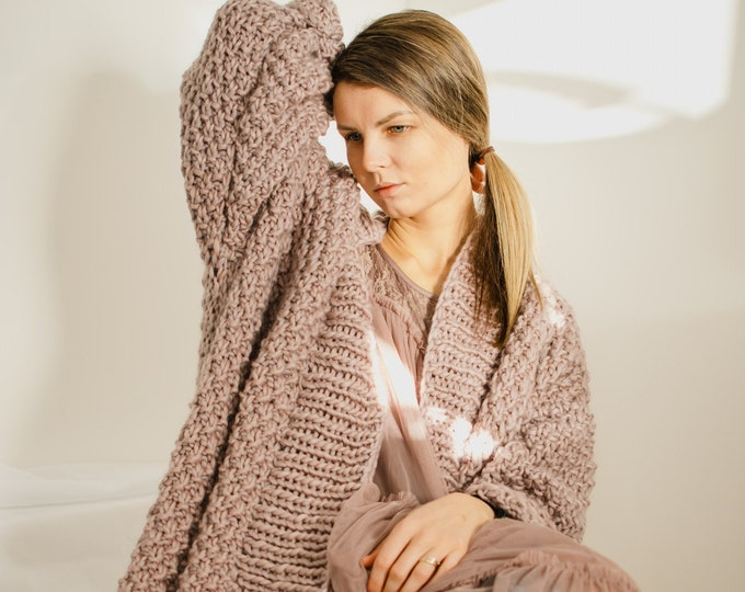 Anaise Blush Chunky Cardigan Merino Wool Handmade Eco Conscious