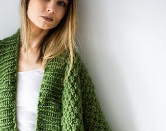 Chunky Merino Wool Cardigan. Handmade Eco Conscious