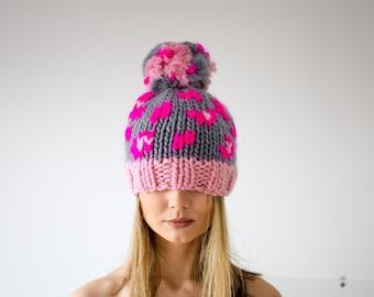 Animal Print Hot Pink Beanie Hat